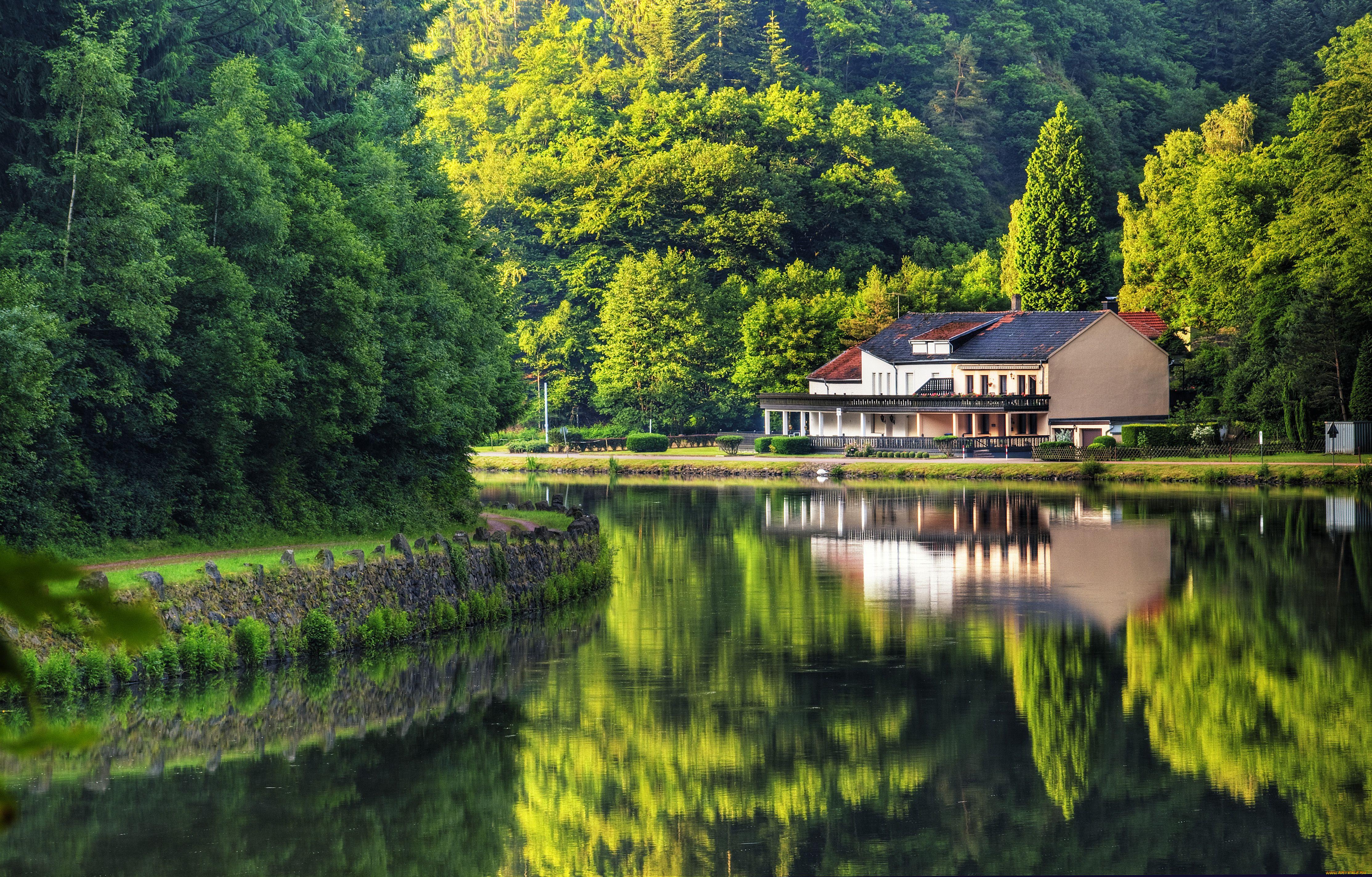 Картинки домик в лесу у реки